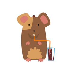 Cute mouse drinking soda drink with straw vector