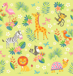 Cute tropical pattern vector