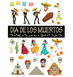 dia de los muertos mexican holiday fiesta symbols vector image