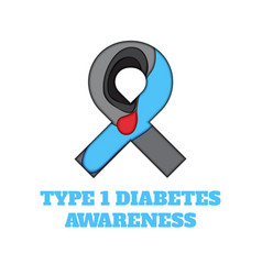 Diabetes type 1 awareness papercut ribbon vector