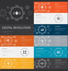 Digital revolution infographic 10 line icons vector