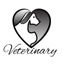 dog and cat shaped in a heart silhouettes logo vector image