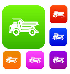 dump truck set color collection vector image