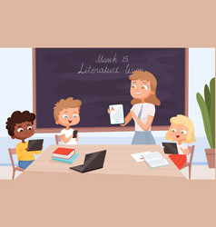 education gadgets teacher sitting with kids and vector image