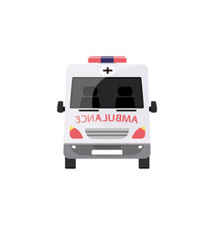emergency ambulance car from front view - white vector image