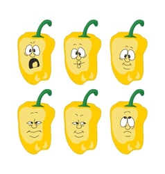 Emotion cartoon yellow pepper vegetables set 003 vector image