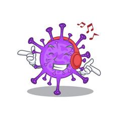Enjoying music bovine coronavirus cartoon mascot vector