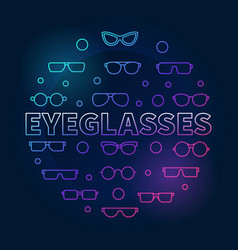 Eyeglasses round colorful outline vector