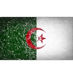 Flags Algeria with broken glass texture vector