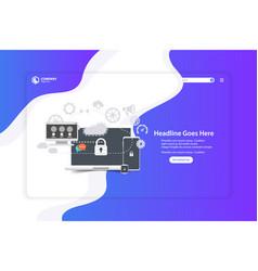 Flat design website landing page template vector
