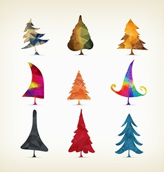 Geometrical Christmas trees isolated on a white vector