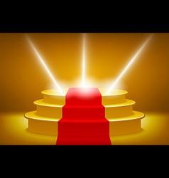 Gold Illuminated stage podium for award ceremony vector
