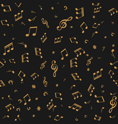 Gold note on black seamless music background vector