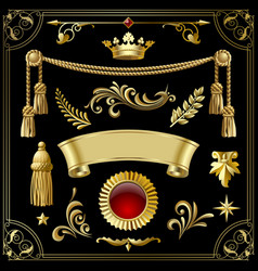 gold vintage decorative design elements isolated vector image