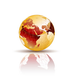 gold world globe vector image