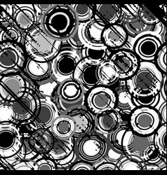 grunge black and white background with round vector image