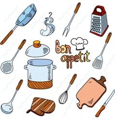 Hand drawn doodle sketch kitchen utensils vector
