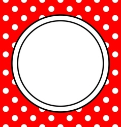 Hand drawn frame with polka dots on red background vector