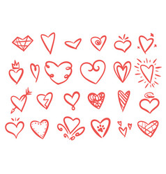 hand drawn set hearts vector image