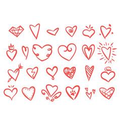 hand drawn set hearts vector image
