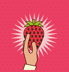 hand holding fresh fruit starwberry vector image
