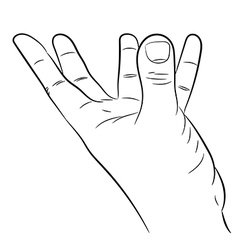 Hand with fingers outstretched support on white ba vector