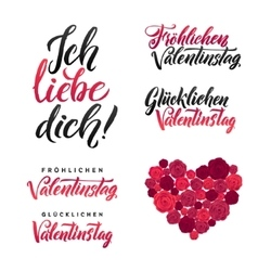 I Love You Happy Valentines Day German Black and vector image