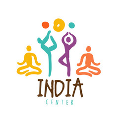 India center logo colorful hand drawn vector
