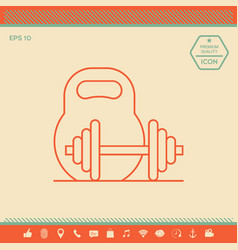 Kettlebell and barbell line icon vector