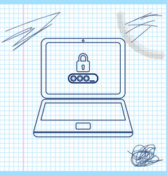 laptop with password notification and lock line vector image