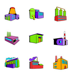 manufacture icons set cartoon style vector image