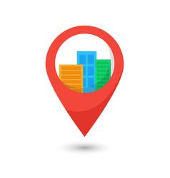 Map city pin point geolocation modern skyline vector