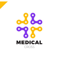 medical logo with cross icon abstract doctor tech vector image