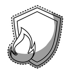 Monochrome contour sticker of shield with flame vector