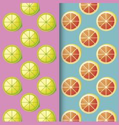 pattern of sliced lemons and oranges fresh fruits vector image