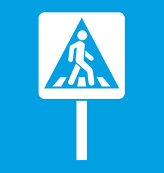 Pedestrian sign icon white vector