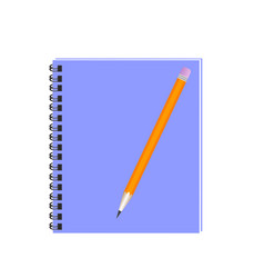 pencil with notebook flat design writing concept vector image