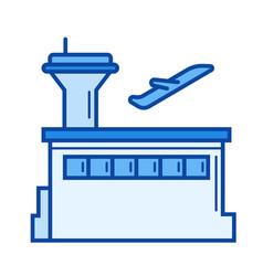plane departure line icon vector image