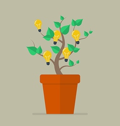 Plant with light bulb idea flat icon vector image
