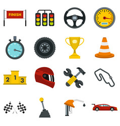 racing speed set flat icons vector image