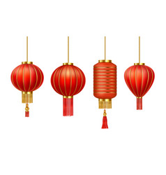Realistic chinese new year red paper lanterns vector
