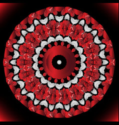 Red flowers round mandala floral circle vector