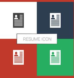 Resume icon white background vector