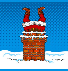Santa claus stuck in the chimney comic book vector
