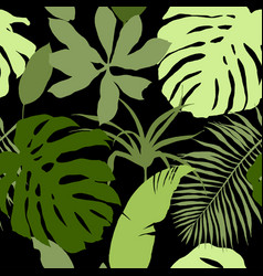 seamless pattern green tropical leaves vector image