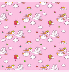 Seamless pattern with cute storks carrying vector