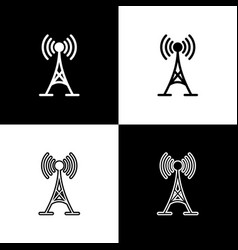 set antenna icons isolated on black and white vector image
