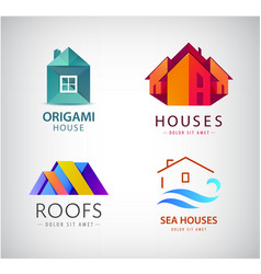 set house logos real estate concept vector image