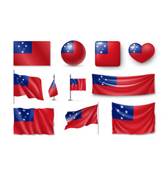 Set samoa realistic flags banners banners vector