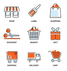 set shopping and retail outline icons vector image